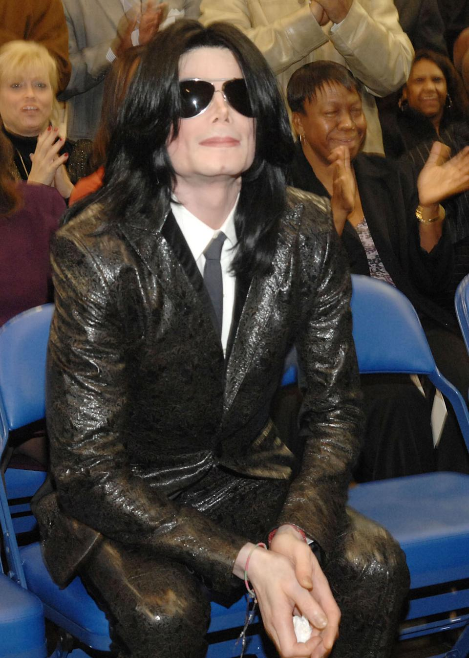 Michael Jackson pays his respects to the late James Brown who is lying in repose at the James Brown Arena in Augusta, Georgia. Brown, widely known as the Godfather of Soul, passed away on Christmas Day. (Photo by Rick Diamond/WireImage)