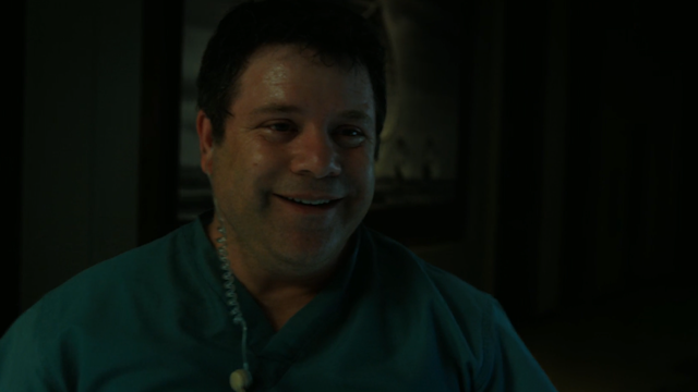 Bob Newby (Sean Astin) in a happy moment before his death by Demodog in <em>Stranger Things</em>. (Photo: Netflix)