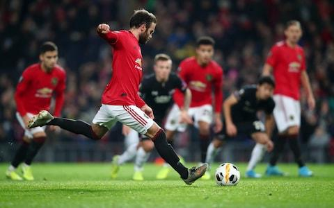 Juan Mata of Manchester United scores his team's third goal during the UEFA Europa League group L match between Manchester United and AZ Alkmaar at Old Trafford on December 12, 2019 in Manchester, United Kingdom - Credit: Getty Images