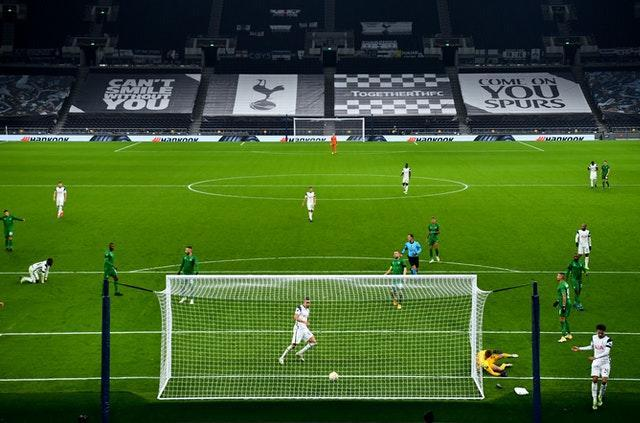 Carlos Vinicius, front centre, scores his second of the game against Ludogorets after unselfish play by Spurs team-mate Dele Alli