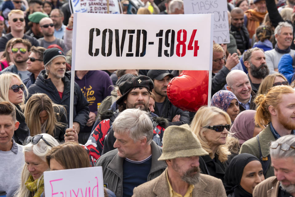 A placard with �Covid 1984� seen during the �We Do Not Consent� protests in Trafalgar Square London against Lockdown, Social Distancing, Track and Trace & wearing of face masks. (Photo by Dave Rushen / SOPA Images/Sipa USA)