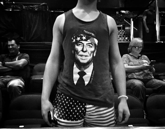<p>A Trump supporter wears a tank top depicting Ronald Reagan at a campaign rally on July 5 in Raleigh, N.C. (Photo: Holly Bailey/Yahoo News) </p>