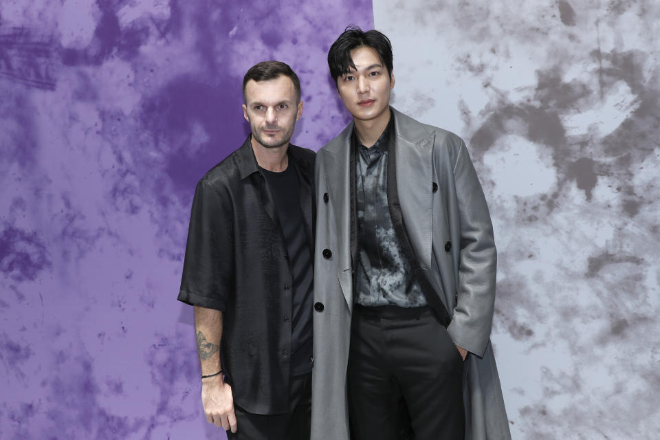 PARIS, FRANCE - JUNE 21: Artistic Director Kris Van Assche and Lee Min Ho pose after the Berluti Menswear Spring Summer 2020 show as part of Paris Fashion Week on June 21, 2019 in Paris, France. (Photo by Bertrand Rindoff Petroff/Getty Images)