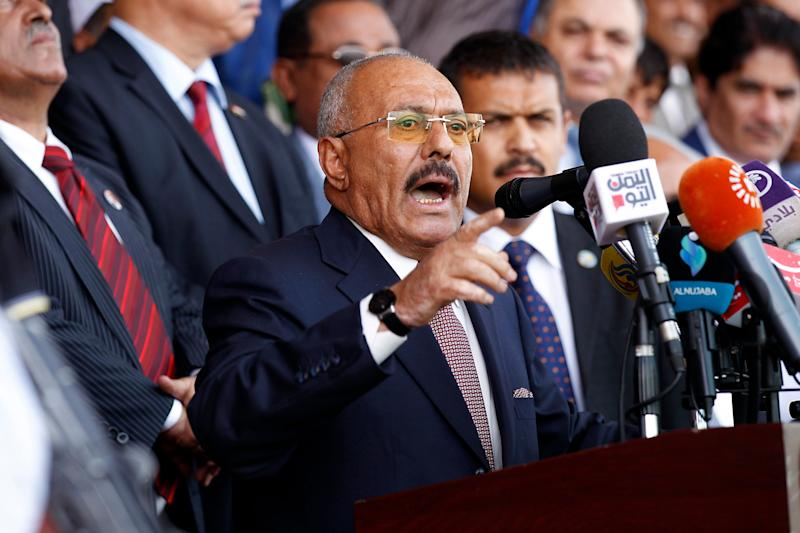 Ali Abdullah Saleh addresses supporters at a rally in August.