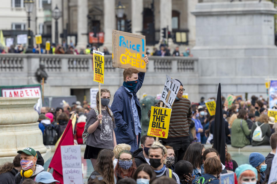 Protesters gather in Trafalgar Square during the Kill The Bill protest in London. A protest against the police, crime, sentencing and courts bill�which will grant the police a range of new discretionary powers to shut down protests. (Photo by Dave Rushen / SOPA Images/Sipa USA)