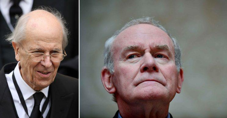 Lord Tebbit and Martin McGuiness (PA/Getty)