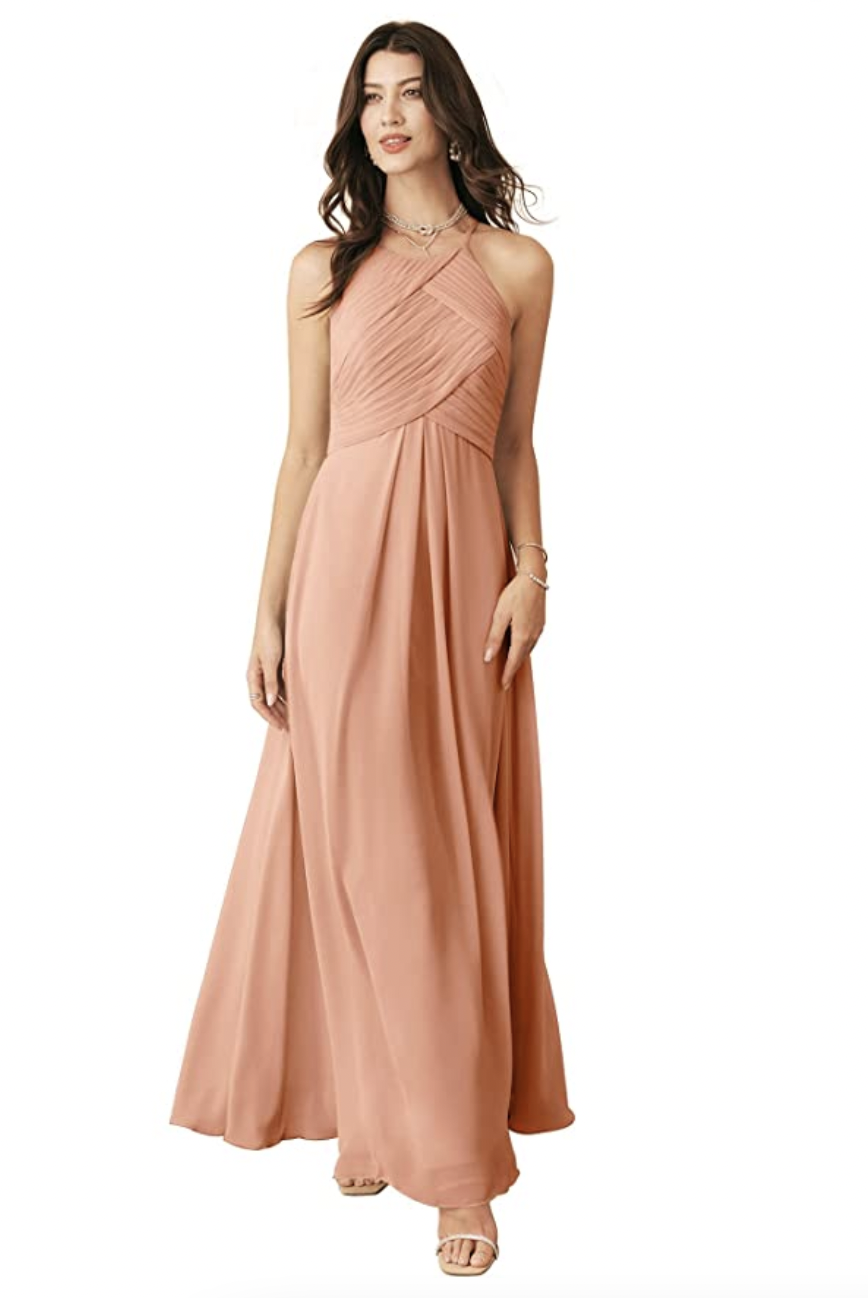 """For a more traditional bridesmaid look, it doesn't get much better than this halter-style chiffon gown. $70, Amazon. <a href=""""https://www.amazon.com/Alicepub-Chiffon-Bridesmaid-Evening-Burgundy/dp/B07QGJN1K4/"""" rel=""""nofollow noopener"""" target=""""_blank"""" data-ylk=""""slk:Get it now!"""" class=""""link rapid-noclick-resp"""">Get it now!</a>"""