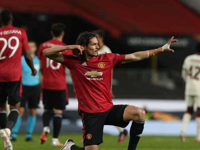 <p>Cavani netted twice in Man Utd's first leg win against Roma</p> (Manchester United via Getty Imag)