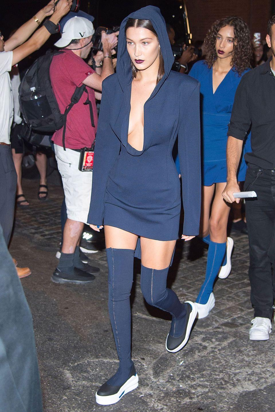 <p>In a full DKNY look leaving the show at New York Fashion Week.</p>