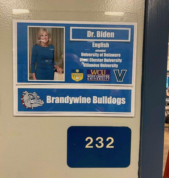 PHOTO: A sign is posted outside the classroom where Dr. Jill Biden taught English at Brandywine High School in Wilmington, Del., in an undated image released by Joe Biden's presidential campaign. (Courtesy Biden for President)