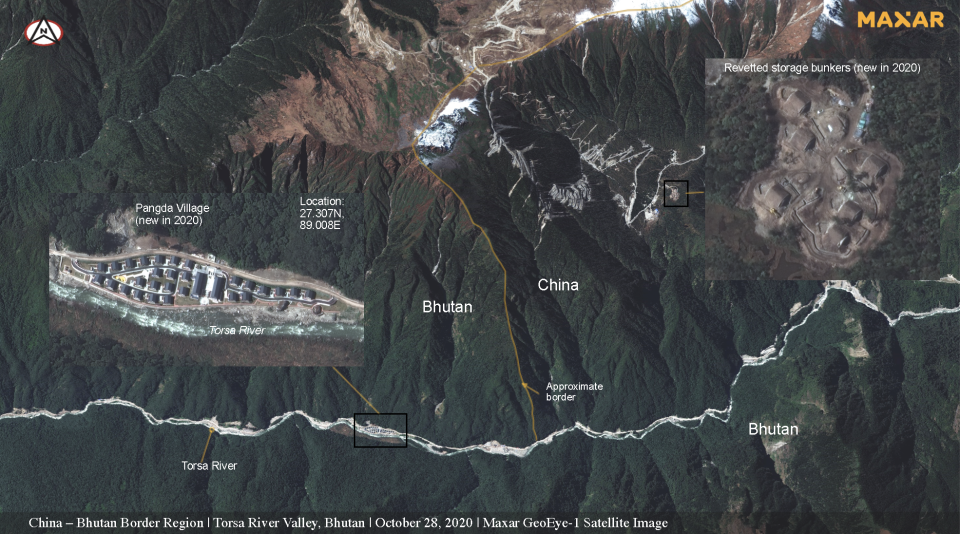 This satellite image shows the new village Pangda, inset, and a 'storage bunker'.