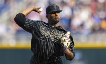 Vanderbilt starting pitcher Kumar Rocker throws against Arizona in the first inning during a baseball game in the College World Series, Saturday, June 19, 2021, at TD Ameritrade Park in Omaha, Neb. (AP Photo/Rebecca S. Gratz)