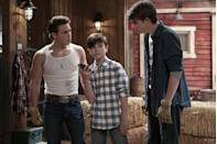 <p>Ricardo Hurtado plays Beau's oldest son, Tuck (pictured at left). The actor and singer has appeared on <em>The Goldbergs, Malibu Rescue,</em> and the Nickelodeon show <em>School of Rock. Brody </em>(pictured at right) is played by Jamie Martin Mann. He comes from a theater background, with roles in <em>Billy Elliot</em> and <em>Because of Winn Dixie,</em> and has danced with the New York City Ballet. Youngest brother Dylan (pictured at center), who takes on the role of Bailey's manager, is portrayed by Griffin McIntyre, son of New Kids on the Block Superstar, Joey McIntyre.</p>
