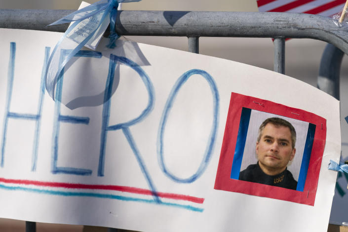 A memorial for U.S. Capitol Police Officer Brian Sicknick is visible near the U.S. Capitol on Capitol Hill in Washington, Thursday, Jan. 14, 2021. (Andrew Harnik/AP)