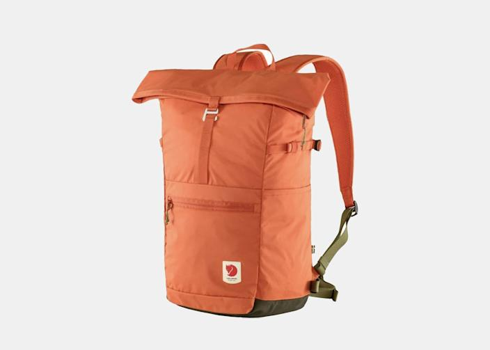 """A waterproof <a href=""""https://www.cntraveler.com/gallery/8-best-travel-backpacks?mbid=synd_yahoo_rss"""" rel=""""nofollow noopener"""" target=""""_blank"""" data-ylk=""""slk:backpack"""" class=""""link rapid-noclick-resp"""">backpack</a> that can take you from camping to hiking to water activities, the Fjällräven High Coast Foldsack comes in seven brilliant colors that range from ochre yellow to rowan red. The backpack is made from 100 percent recycled nylon and its standout feature is its fold-top closure with a zipper and metal clasp, keeping water out when it's most urgent. Front and side pockets allow for easy stowing of phones and other small items. $100, Backcountry. <a href=""""https://www.backcountry.com/fjallraven-high-coast-foldsack-24l-backpack"""" rel=""""nofollow noopener"""" target=""""_blank"""" data-ylk=""""slk:Get it now!"""" class=""""link rapid-noclick-resp"""">Get it now!</a>"""