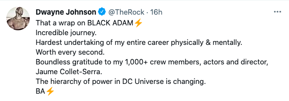 """Dwayne """"The Rock"""" Johnson hints at trouble ahead for the DC universe (Twitter @TheRock)"""