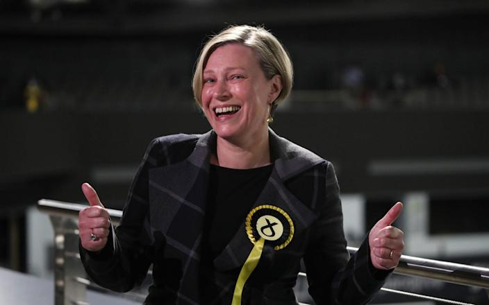 SNP candidate for Aberdeenshire East, Gillian Martin celebrates after her acceptance speech - Andrew Milligan/PA