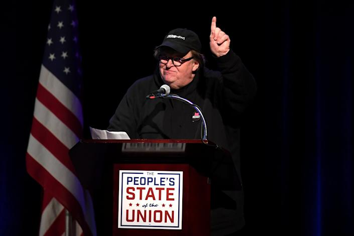 "Michael Moore speaks during the ""People's State of the Union"" event one day ahead of President Trump's State of The Union Speech to Congress, in New York City, Jan. 29, 2018. (Photo: Darren Ornitz/Reuters)"