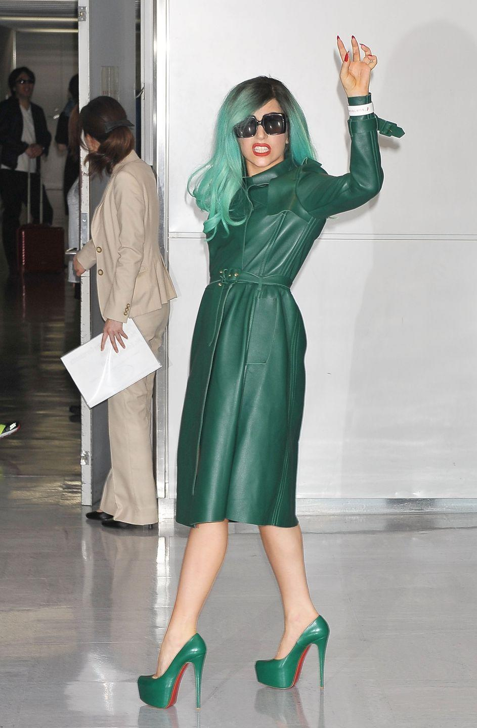 <p><strong>Lady Gaga, 2011: </strong>At Tokyo's Narita airport in a monochrome look with maniacally high stilettos.</p>