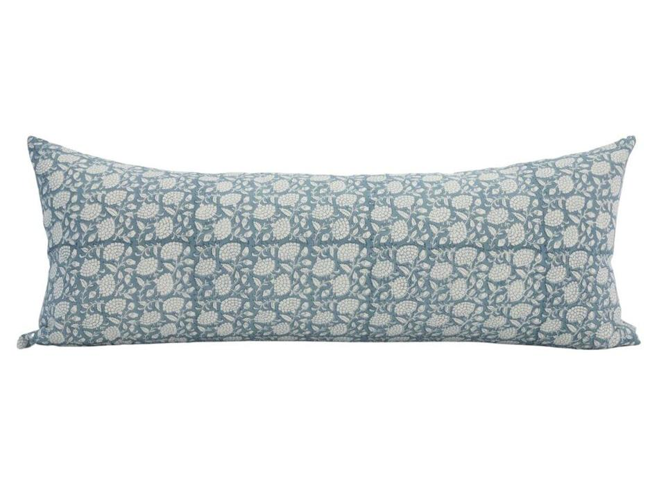 Blue and White Block Print Floral Pillow Cover Oversized Lumbar Pillow