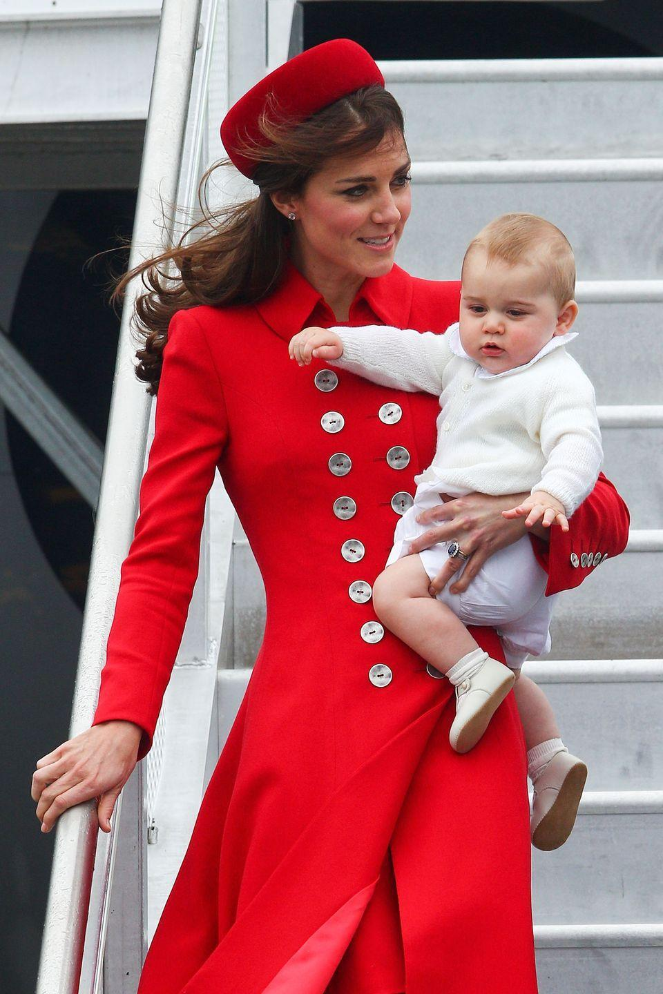 <p>The Duchess, on more than one occasion, has had to walk down steep stairs in front of hoards of photographers, <em>while</em> holding the future King in her arms. In other words, she's got no time for a face full of hair. Her clever hack: Always wear a hat at the airport. </p>