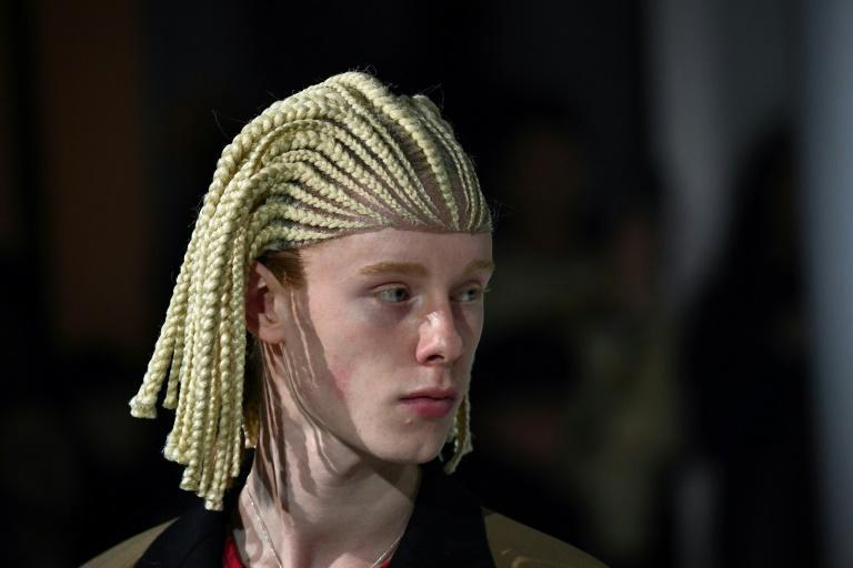 Offensive or an homage? One of the 'cornrow' wigs worn by white models at the Paris Comme des Garcons show (AFP Photo/Anne-Christine POUJOULAT)