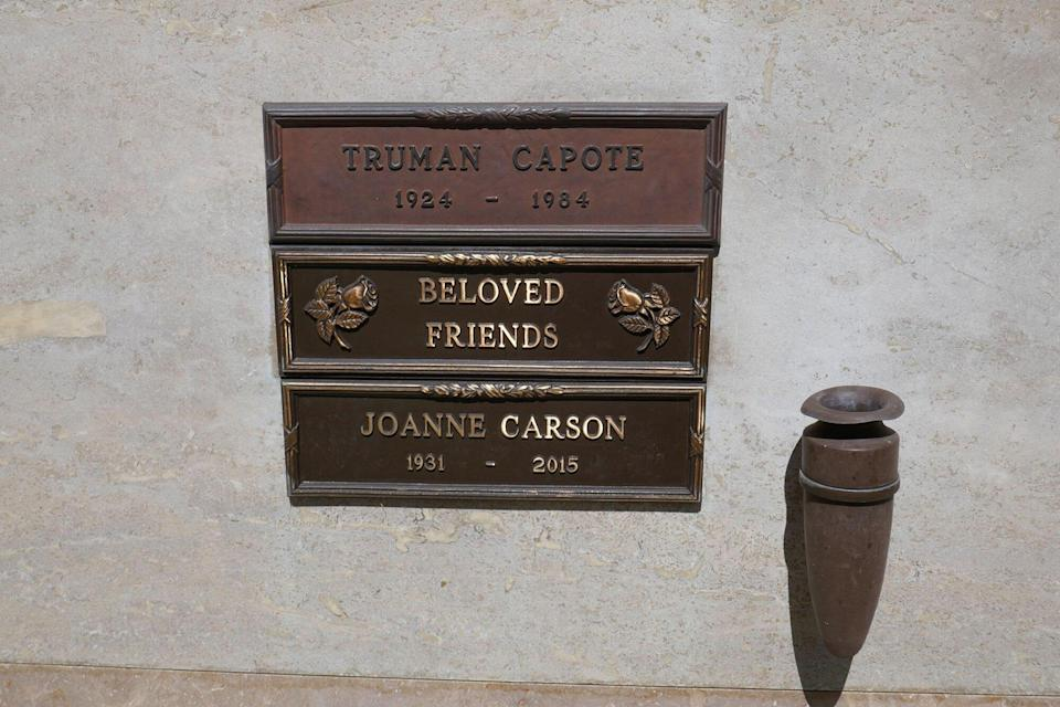 Truman Capote and Joanne Carson's graves at Pierce Brothers Westwood Village Memorial Park on May 19, 2020 in Los Angeles, California, USA. Photo by Barry King/Alamy Stock Photo