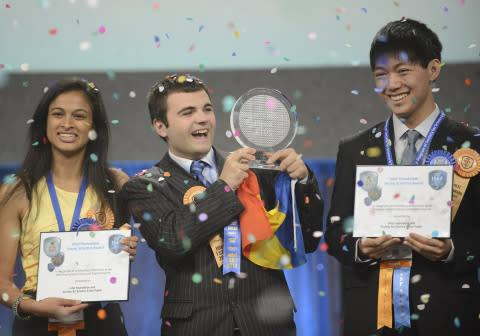 May 17, 2013 - Top winner Ionut Budisteanu, 19, of Romania (center) with second-place winners Eesha ...