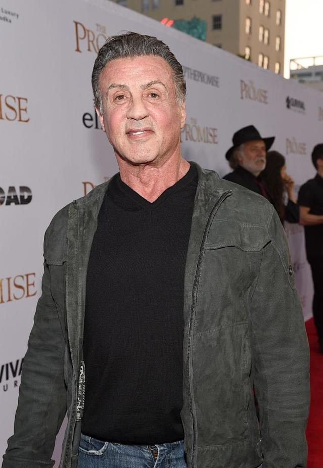 Sylvester Stallone walks the red carpet at a movie premiere on April 12, 2017, in Hollywood. (Photo: Kevork Djansezian/Getty Images)