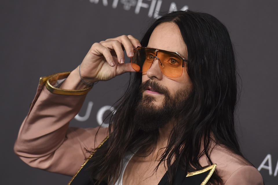 Jared Leto arrives at the 2019 LACMA Art and Film Gala at Los Angeles County Museum of Art on Saturday, Nov. 2, 2019, in Los Angeles. (Photo by Jordan Strauss/Invision/AP)