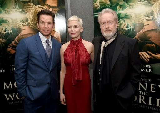 Mark Wahlberg (l.), Michelle Williams und Ridley Scott