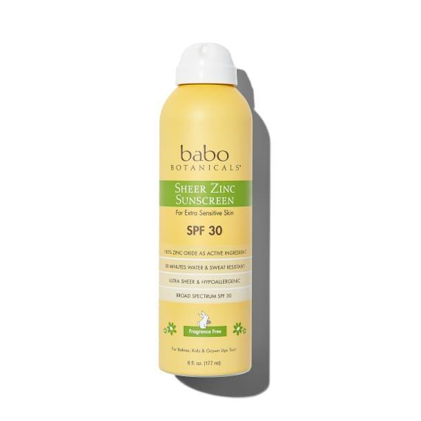 """<p><strong>Babo Botanicals</strong></p><p>follain.com</p><p><strong>$22.00</strong></p><p><a href=""""https://go.redirectingat.com?id=74968X1596630&url=https%3A%2F%2Ffollain.com%2Fp%2Fsheer-zinc-continuous-spray-sunscreen-spf-30&sref=http%3A%2F%2Fwww.townandcountrymag.com%2Fstyle%2Fbeauty-products%2Fg27467618%2Fbest-natural-organic-sunscreen%2F"""" rel=""""nofollow noopener"""" target=""""_blank"""" data-ylk=""""slk:Shop Now"""" class=""""link rapid-noclick-resp"""">Shop Now</a></p><p>Those who shy away from zinc will find themselves converted: this formulation is sheer. Plus, if you're prone to redness, rest assured that the calendula extract will calm irritated skin. </p>"""
