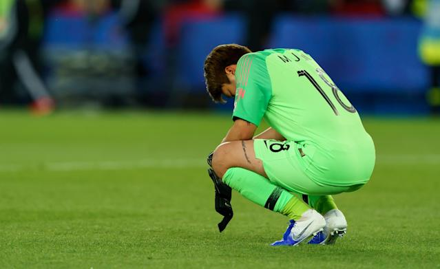 Goalkeeper Min-Jeong Kim of Korea looks dejected during the 2019 FIFA Women's World Cup France group A match between France and Korea Republic at Parc des Princes on June 7, 2019 in Paris, France. (Photo by TF-Images/Getty Images)