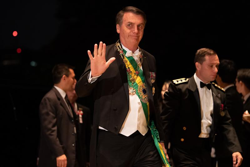 TOKYO, JAPAN - OCTOBER 22: Brazil's President Jair Bolsonaro arrives at the Imperial Palace for the Court Banquets after the Ceremony of the Enthronement of Emperor Naruhito in Tokyo on October 22, 2019. (Photo by SIPA/PIERRE EMMANUEL DELETREE/POOL/Anadolu Agency via Getty Images)