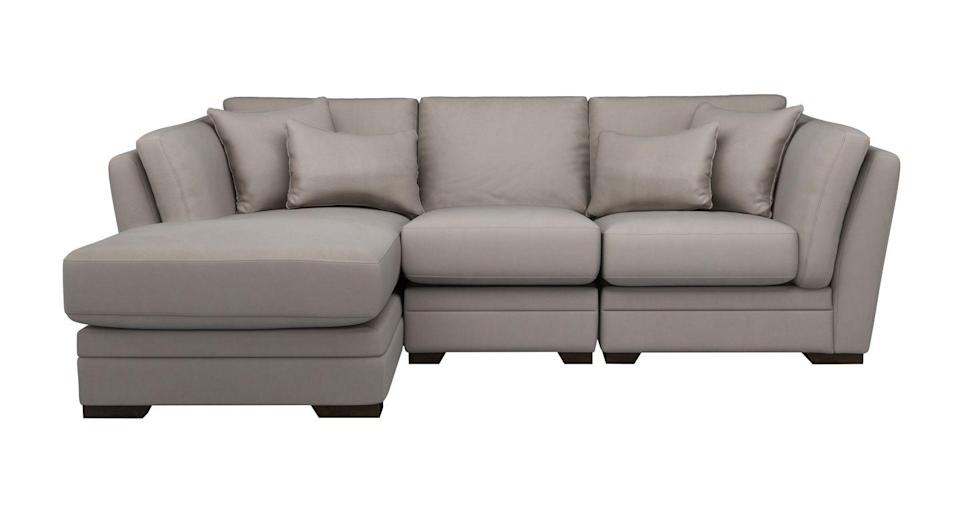 """<p>Laid back and luxurious, this oversized sofa with super-comfy pillow-back cushions would be an elegant addition to any modern living space. Available in nine velvet colours and six fabric colour combinations.</p><p><a class=""""link rapid-noclick-resp"""" href=""""https://www.dfs.co.uk/long-beach/lbc16flbc"""" rel=""""nofollow noopener"""" target=""""_blank"""" data-ylk=""""slk:SHOP NOW"""">SHOP NOW</a></p><p><strong>Style Tip: </strong>A chaise end makes best use of available space, taking up less room than a sofa and chair combination while providing the same amount of seating.</p>"""
