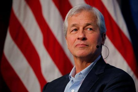 Jamie Dimon, CEO of JPMorgan Chase, takes part in a panel discussion about investing in Detroit at the Kennedy School of Government at Harvard University in Cambridge, Massachusetts, U.S., April 11, 2018.   REUTERS/Brian Snyder