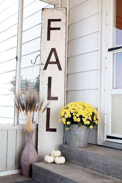 """<p>A simple reclaimed wood plank serves as the base of this distressed-looking sign. You can write just about whatever you want to welcome guests to your home (or give trick-or-treaters a delight with """"Boo!"""").</p><p><strong>See more at <a href=""""http://lovegrowswild.com/2013/09/giant-distressed-fall-sign/"""" rel=""""nofollow noopener"""" target=""""_blank"""" data-ylk=""""slk:Love Grows Wild"""" class=""""link rapid-noclick-resp"""">Love Grows Wild</a>.</strong></p><p><a class=""""link rapid-noclick-resp"""" href=""""https://go.redirectingat.com?id=74968X1596630&url=https%3A%2F%2Fwww.walmart.com%2Fbrowse%2Fhome%2Fthe-pioneer-woman-decor%2F4044_133012_3812631%3Ffacet%3Dfacet_product_type%253APlaques%2B%2526%2BSigns&sref=https%3A%2F%2Fwww.thepioneerwoman.com%2Fhome-lifestyle%2Fdecorating-ideas%2Fg36732301%2Foutdoor-fall-decorations%2F"""" rel=""""nofollow noopener"""" target=""""_blank"""" data-ylk=""""slk:SHOP DECORATIVE SIGNS"""">SHOP DECORATIVE SIGNS</a></p>"""