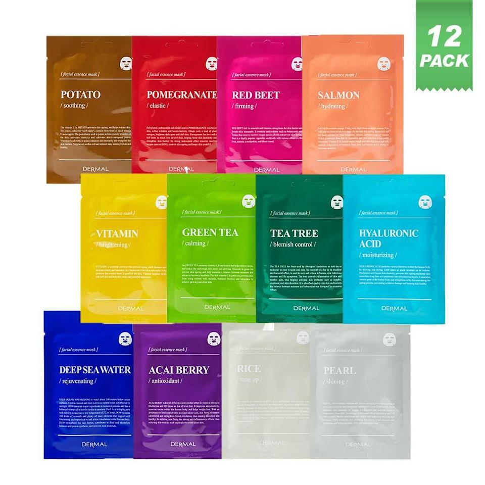 """<h3>12-Pack Facial Essence Sheet Masks</h3><br>Face mask enthusiasts lined up to cart this major Amazon value pack of 12 collagen-infused and enriching treatments — that are currently on mega markdown for 71% off their usual already affordable price.<br><br><strong>4.5 out of 5 stars and 235 reviews</strong><br><br><strong>Dermal</strong> Color Facial Essence Mask Sheet, Pack of 12, $, available at <a href=""""https://amzn.to/316IeBL"""" rel=""""nofollow noopener"""" target=""""_blank"""" data-ylk=""""slk:Amazon"""" class=""""link rapid-noclick-resp"""">Amazon</a>"""
