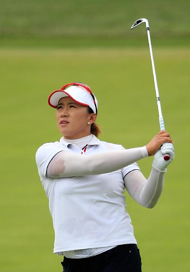 Amy Yang of South Korea plays a shot on the third hole during the final round of the US Women's Open on July 12, 2015 in Lancaster, Pennsylvania (AFP Photo/Sam Greenwood)