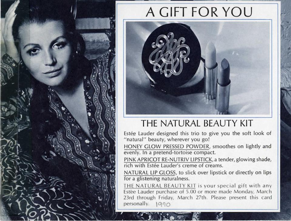 <p>Natural beauty was as big in 1970 as it is today, but back then you could really get some bang for your buck. A five-dollar purchase at an Estée Lauder scored you a free lipstick, lip gloss, and that good old pressed powder — this time in a tortoiseshell compact. (Photo: Estée Lauder)</p>