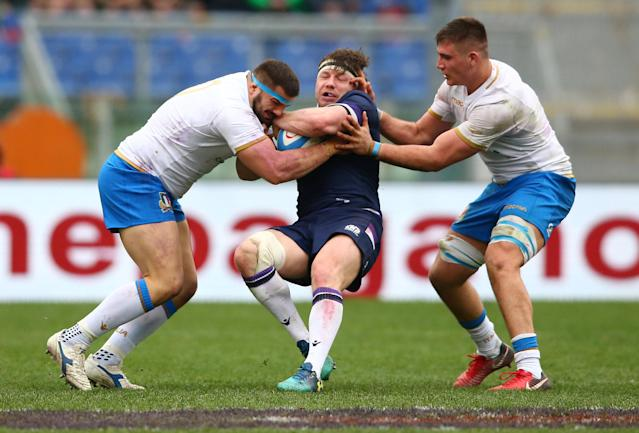 Rugby Union - Six Nations Championship - Italy vs Scotland - Stadio Olimpico, Rome, Italy - March 17, 2018 Scotland's Hamish Watson in action with Italy's Nicola Quaglio and Jake Polledri REUTERS/Alessandro Bianchi