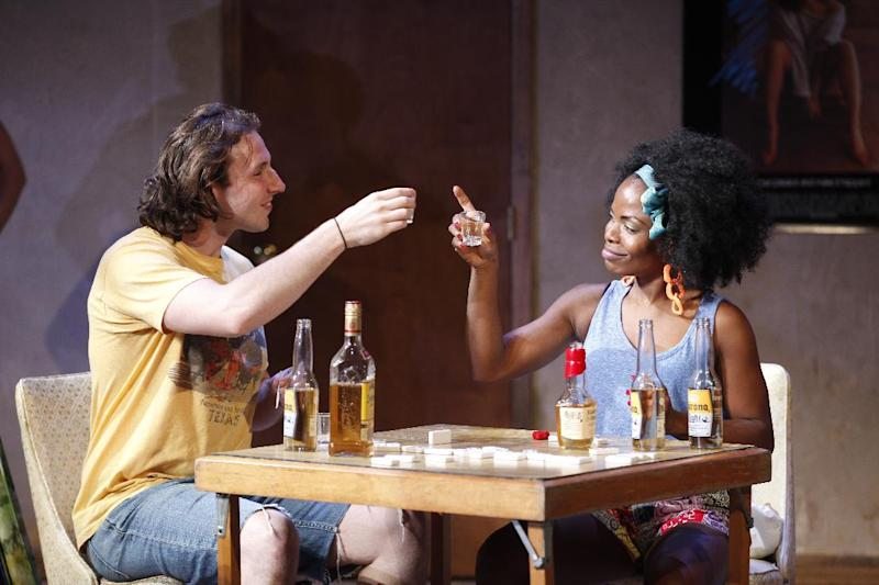 """This undated theater image released by The O and M Co. shows Brandon Coffey, left, and Marsha Stephanie Blake in a scene from Woody Harrelson & Frankie Hyman's """"Bullet for Adolf,"""" at New World Stages in New York. (AP Photo/The O and M Co., Carol Rosegg)"""
