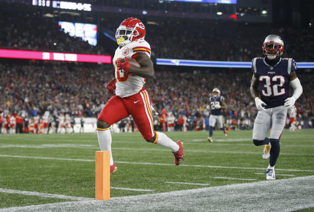 Tyreek Hill scores his third touchdown. (AP)