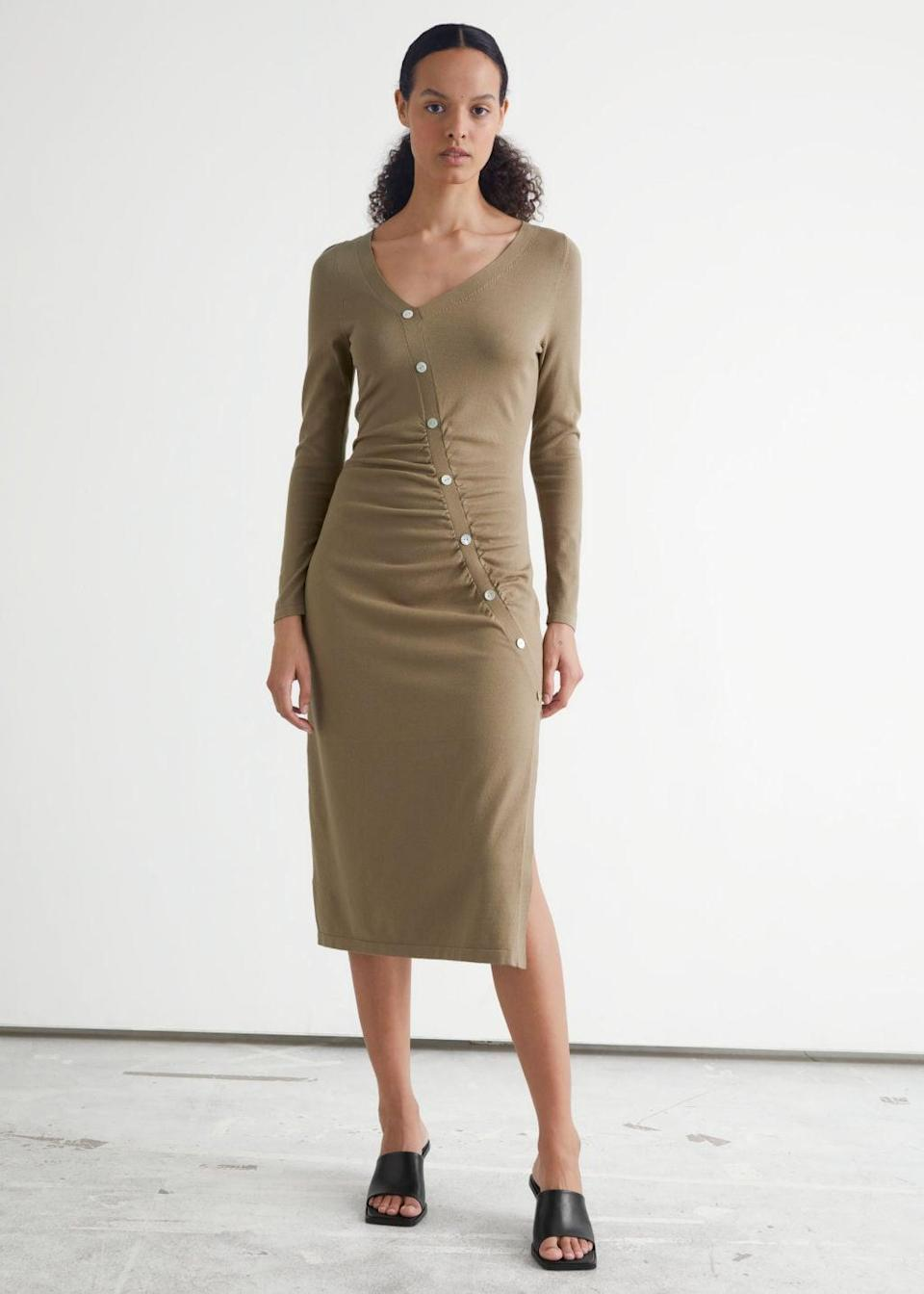 <p>From the office to a spontaneous afterwork dinner, this <span>&amp; Other Stories Buttoned Asymmetric Midi Dress</span> ($60, originally $119) will stylishly transition into the night. From the silhouette to the side slit, everything about it is flattering.</p>