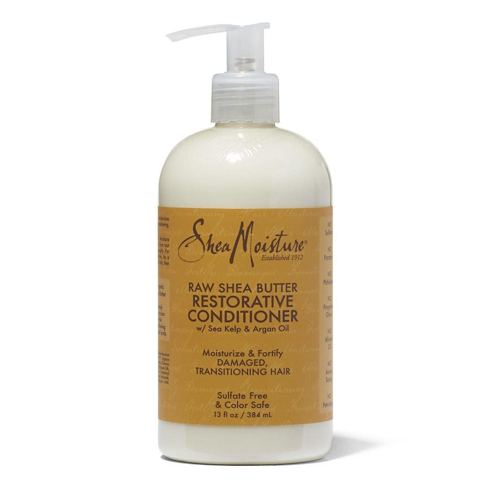 """<p>Struggling with dry and damaged hair? This leave-in or wash out conditioner is perfect for you. Filled with shea butter and natural oils this conditioner will leave your hair feeling more hydrated than ever. </p><p><a class=""""link rapid-noclick-resp"""" href=""""https://go.redirectingat.com?id=74968X1596630&url=https%3A%2F%2Fwww.walmart.com%2Fip%2FShea-Moisture-Raw-Shea-Butter-Restorative-Conditioner%2F167344065&sref=https%3A%2F%2Fwww.seventeen.com%2Fbeauty%2Fg37036119%2Fnatural-hair-products%2F"""" rel=""""nofollow noopener"""" target=""""_blank"""" data-ylk=""""slk:Shop Now"""">Shop Now</a></p>"""