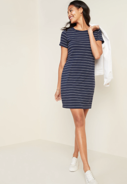 Old Navy Fitted Striped Crew-neck Tee Dress