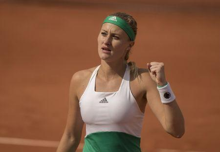 Jun 4, 2017; Paris, France; Kristina Mladenovic (FRA) reacts during her match against Garbine Muguruza (ESP) (not pictured) on day eight of the 2017 French Open tennis tournament at Stade Roland Garros. Mandatory Credit: Susan Mullane-USA TODAY Sports