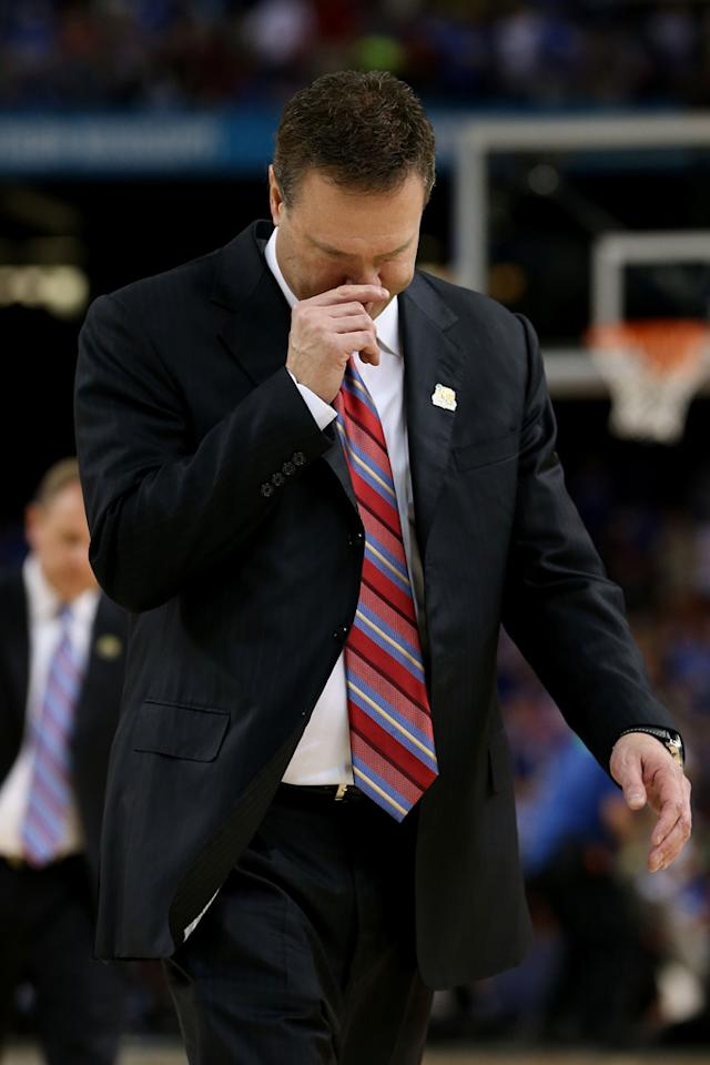 Head coach Bill Self of the Kansas Jayhawks reacts as he walks off the court in the first half against the Kentucky Wildcats in the National Championship Game of the 2012 NCAA Division I Men's Basketball Tournament at the Mercedes-Benz Superdome on April 2, 2012 in New Orleans, Louisiana. (Photo by Jeff Gross/Getty Images)