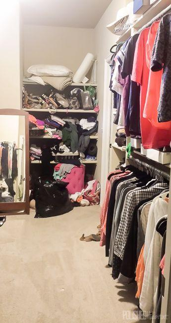 """<p>Even though this <a href=""""http://www.polishedhabitat.com/2015/master-closet-organization/"""" rel=""""nofollow noopener"""" target=""""_blank"""" data-ylk=""""slk:master closet"""" class=""""link rapid-noclick-resp"""">master closet</a> is large, the random shelves don't optimize the space and leave much to be desired.</p>"""