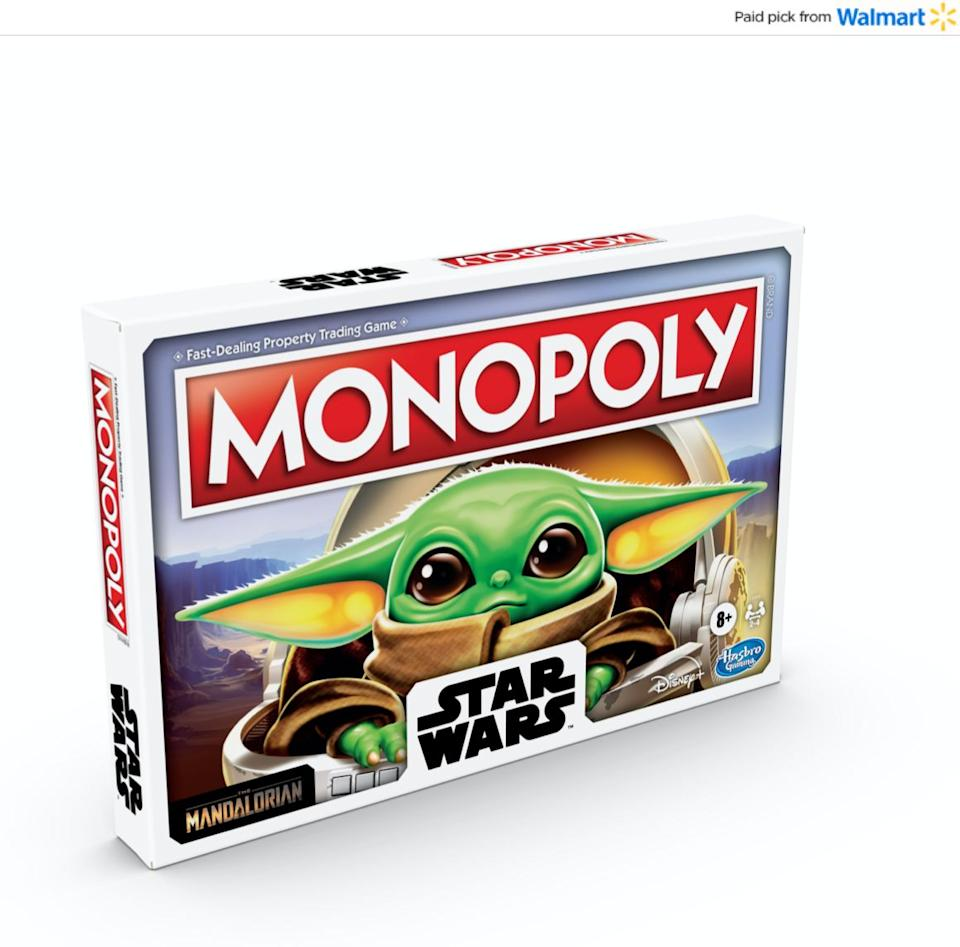 """This isn't your mom's version of """"Monopoly."""" This edition includes different Baby Yoda tokens and <i>forces</i>players to buy and trade objects that were shown on the show. <a href=""""https://www.walmart.com/ip/Monopoly-Star-Wars-The-Child-Board-Game-for-Ages-8/631741104?sourceid=aff_ov_338446cb-ecfc-4727-be8a-820e84f07845&veh=aff&wmlspartner=aff_ov_338446cb-ecfc-4727-be8a-820e84f07845&cn=FY21-Holiday-Gifting_st_hw_aff_nap_ov_snl_oth"""" target=""""_blank"""" rel=""""noopener noreferrer"""">Find it for $14 at Walmart</a>."""